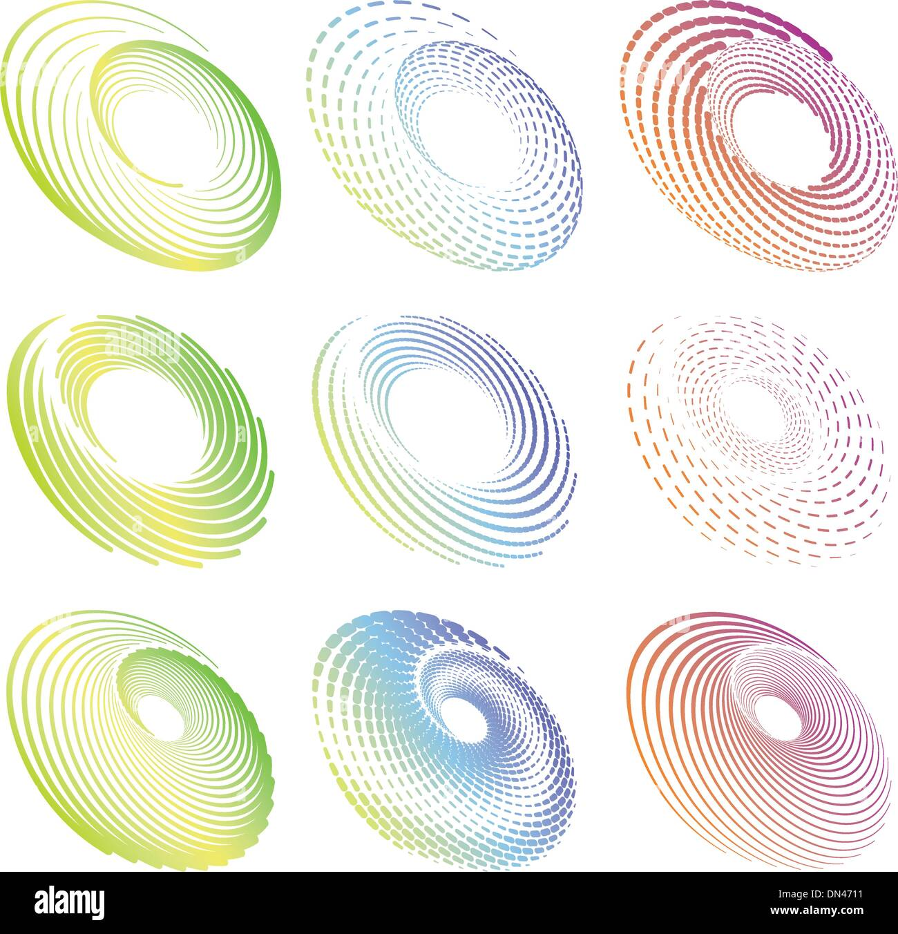 Creative design circle and round symmetric elements - Stock Image