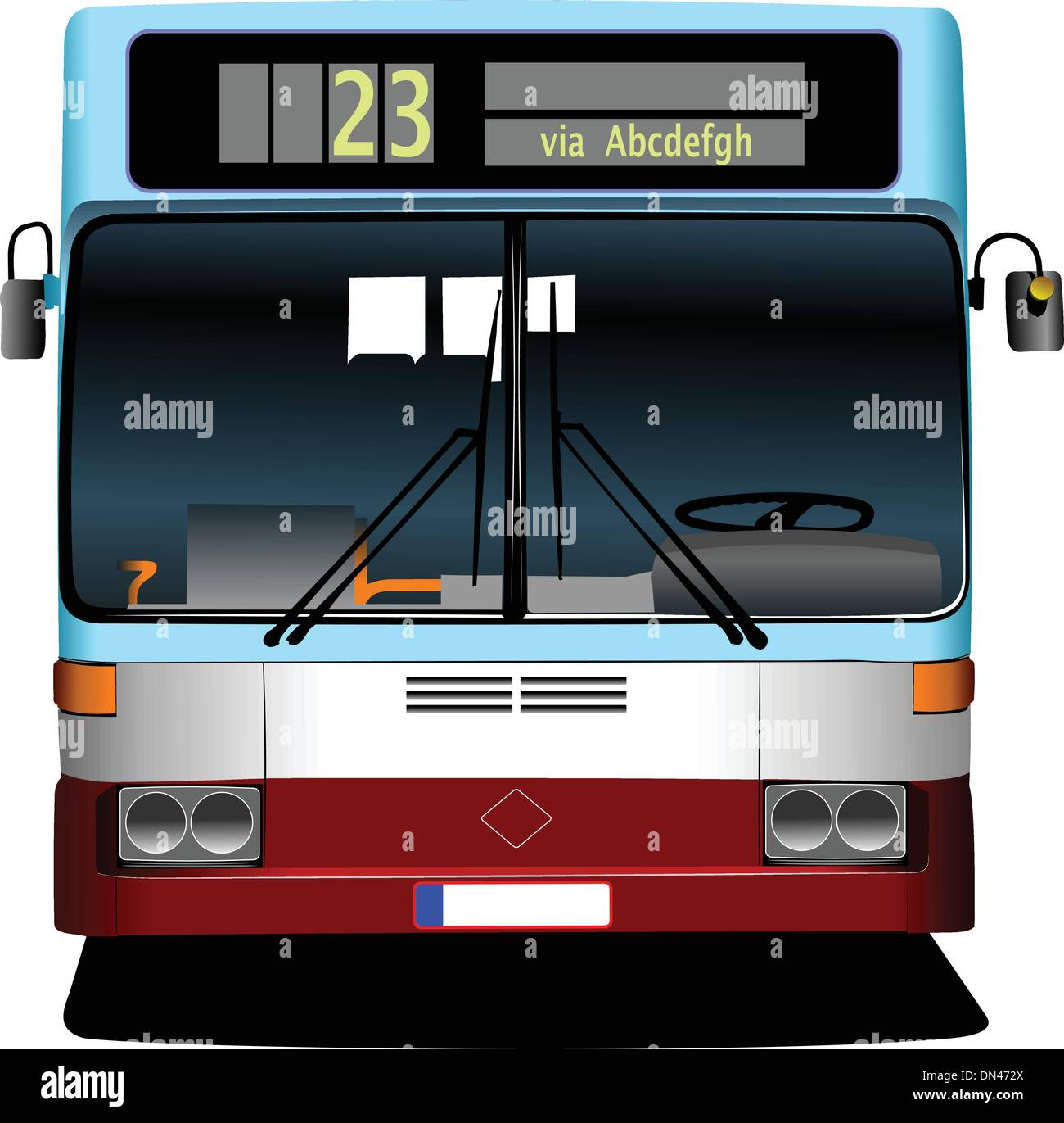 Blue City bus. Coach. Vector illustration for designers - Stock Image