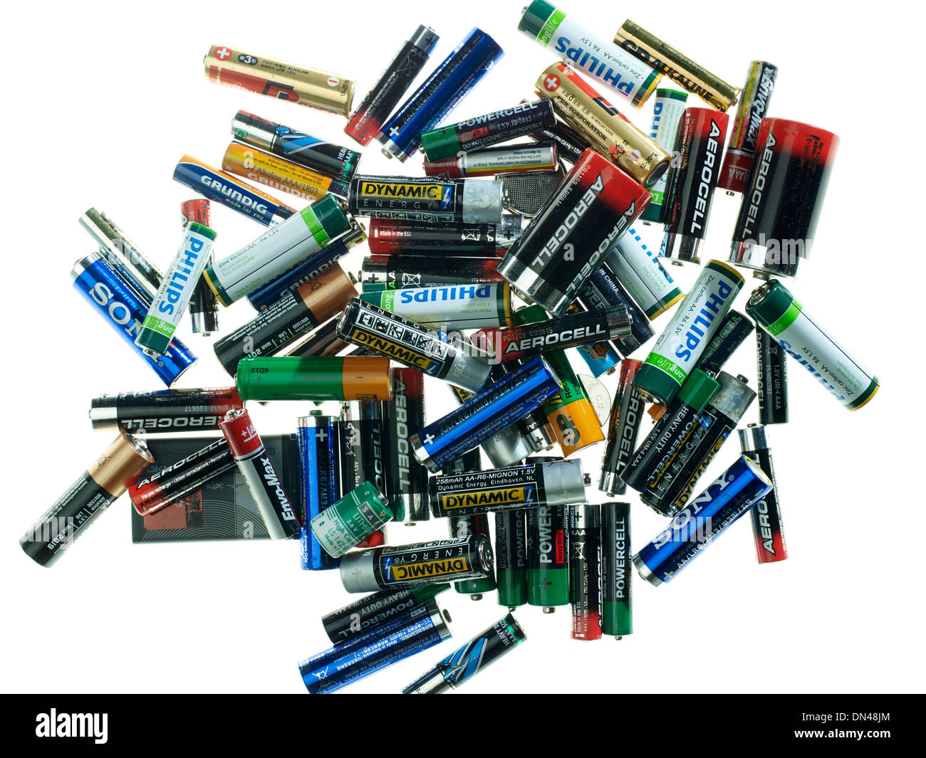 Empty batteries together - Stock Image