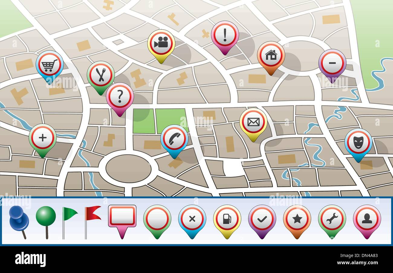 vector city map with GPS icons - Stock Vector