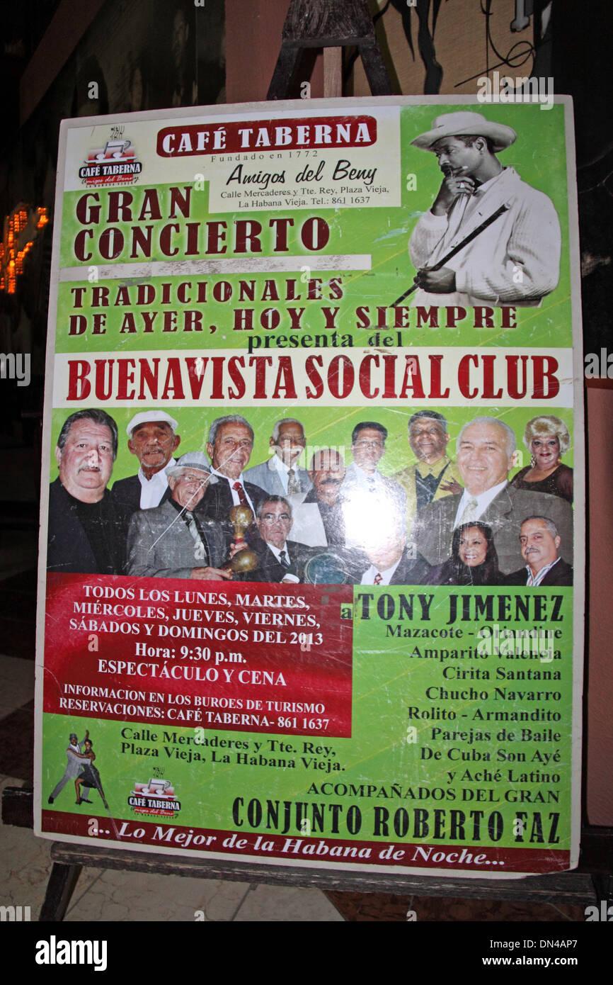 Poster for Buena Vista Social Club at Café Taberna, Old Havana (La Habana Vieja), Cuba, Caribbean Sea, Central America - Stock Image