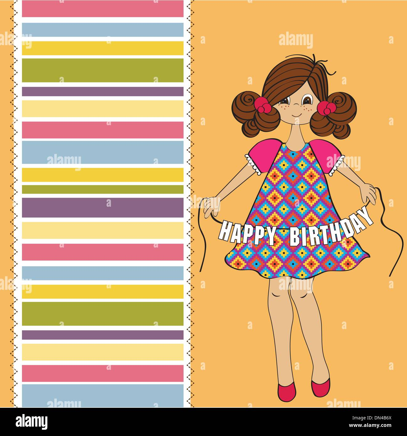 Cute Little Girl Wishing You Happy Birthday Stock Vector Art