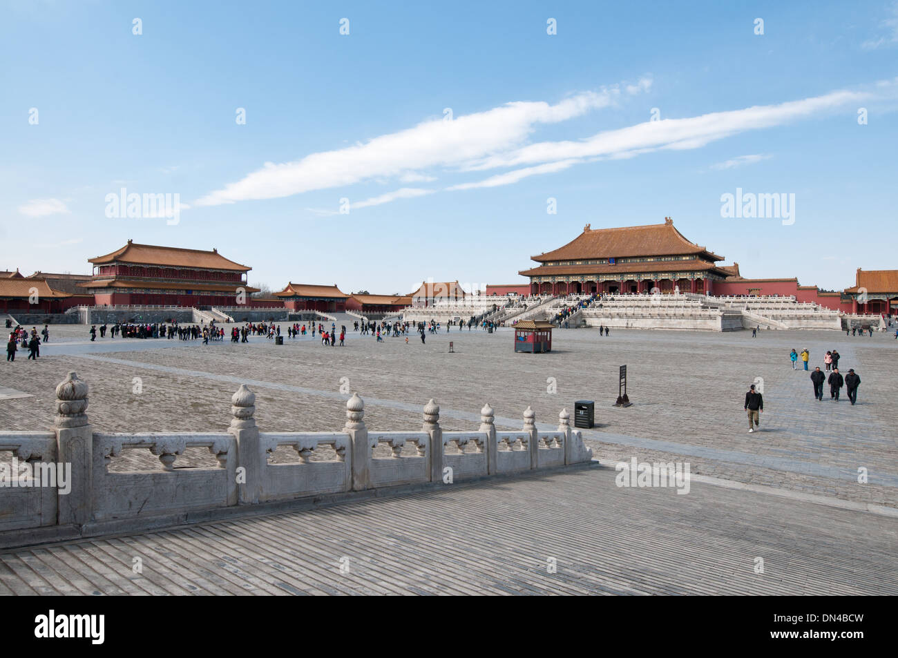 Hall of Supreme Harmony (Taihedian) and Hongyi Pavilion of Spreading Righteousness (Left) in Forbidden City, Beijing, China - Stock Image