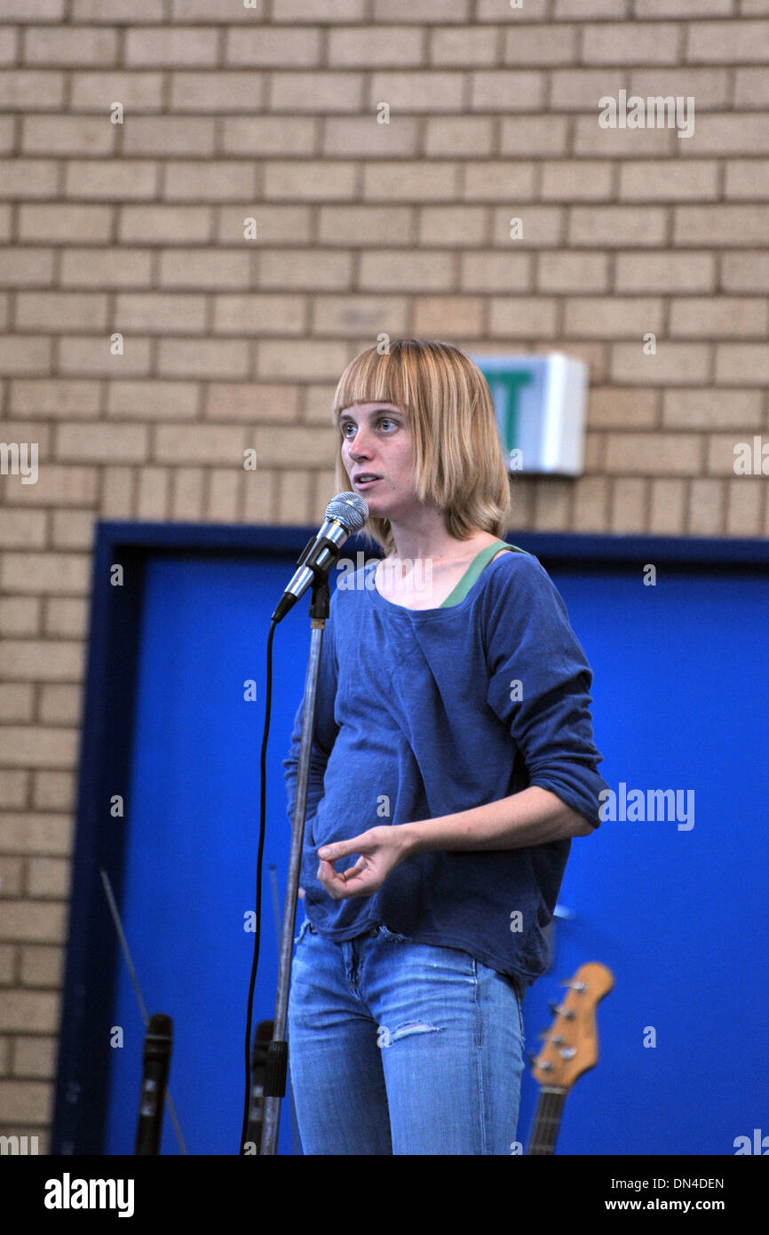 DSM and WASP party member Liv Shange speaks at a 2013 May day rally in South Africa. - Stock Image