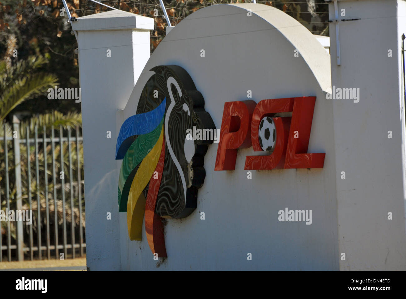 The sign and logo for the South African Premier Soccer League in Johannesburg. - Stock Image