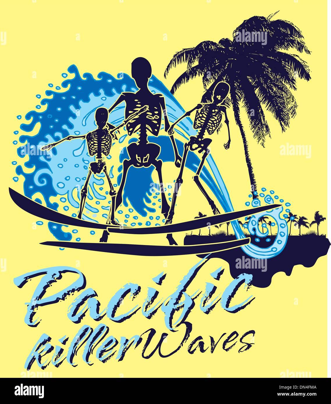 pacific ocean skeleton surfer vector art Stock Vector Art ...