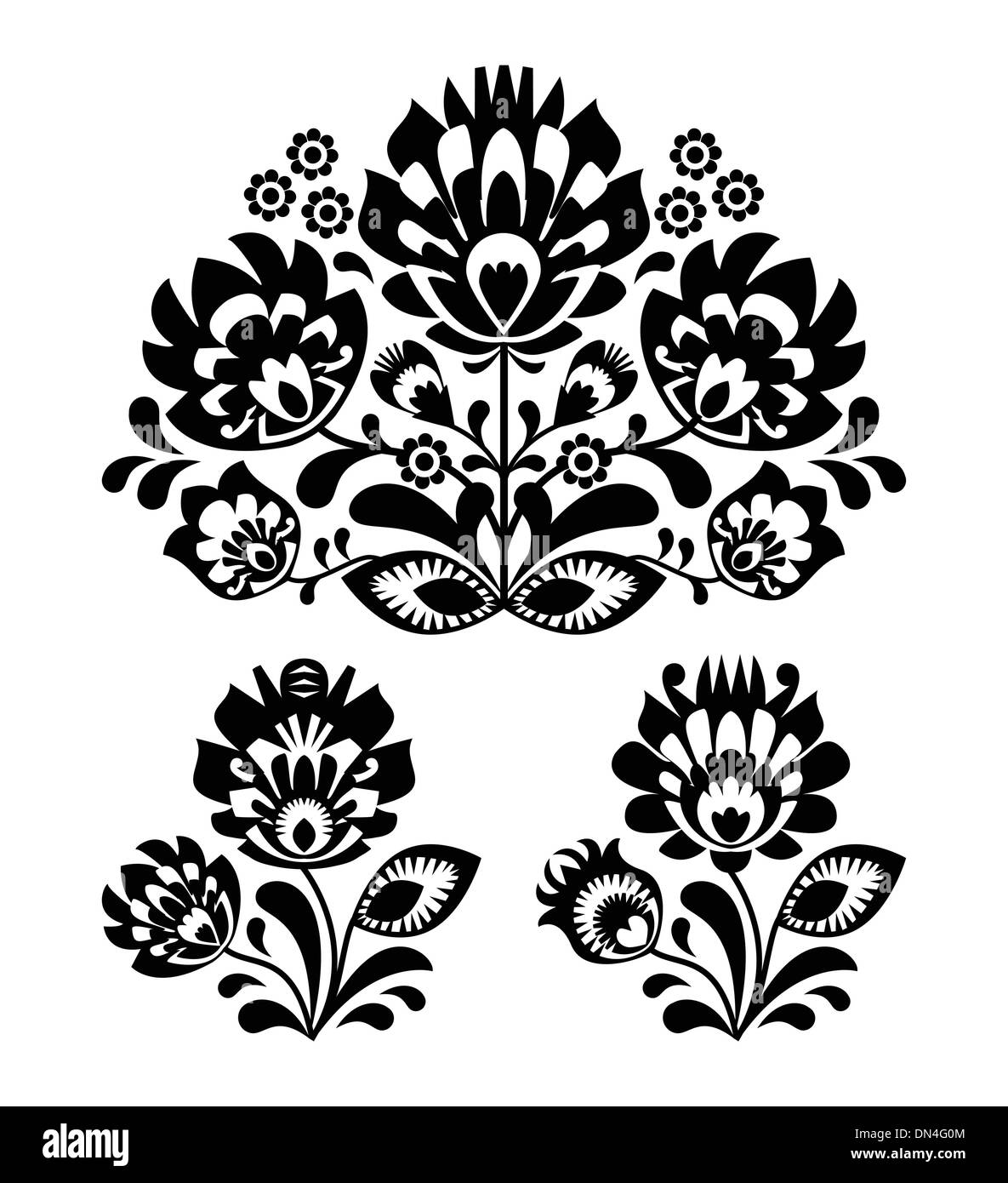 Embroidery Pattern Black and White Stock Photos & Images - Alamy