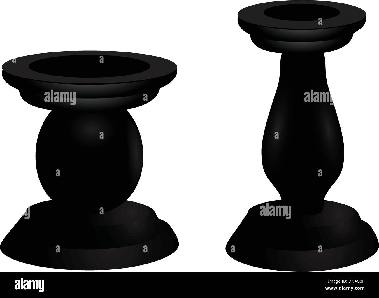 Wooden candle holders - Stock Image