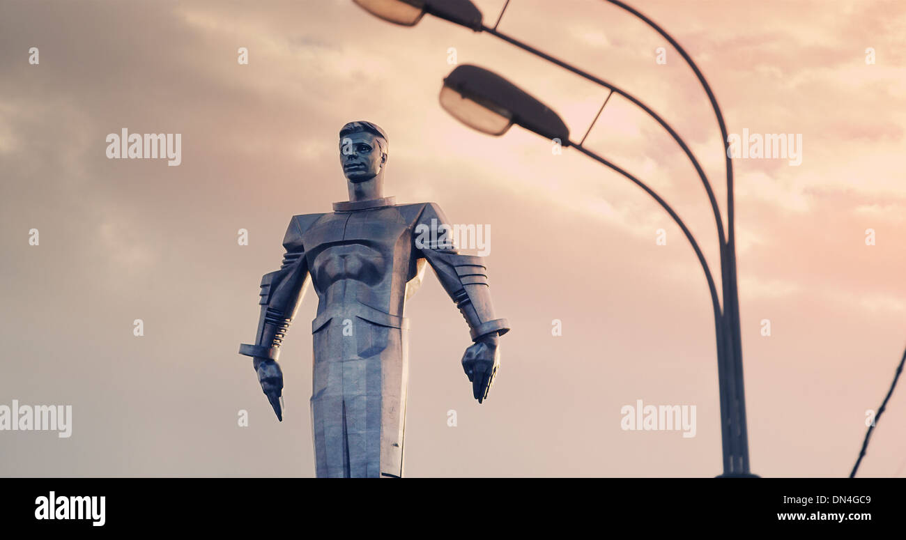Statue of Yuri Gagarin in Moscow, Russia - Stock Image