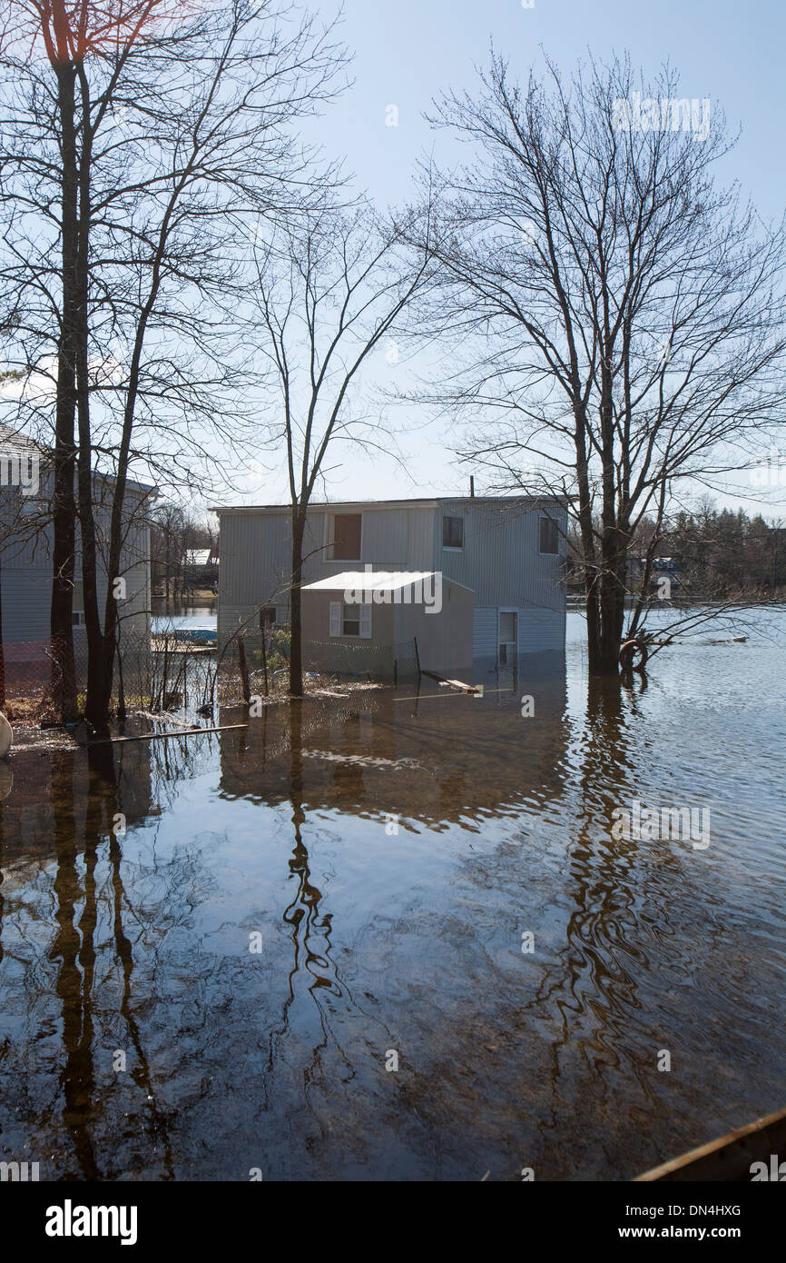 A flood int he spring of 2013 in Norland, Onrtario - Stock Image