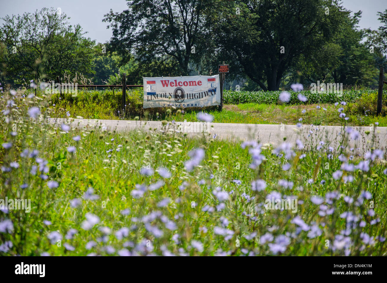 Welcome to the Lincoln Highway banner near to Franklin Grove, Illinois, a town along the Lincoln Highway - Stock Image