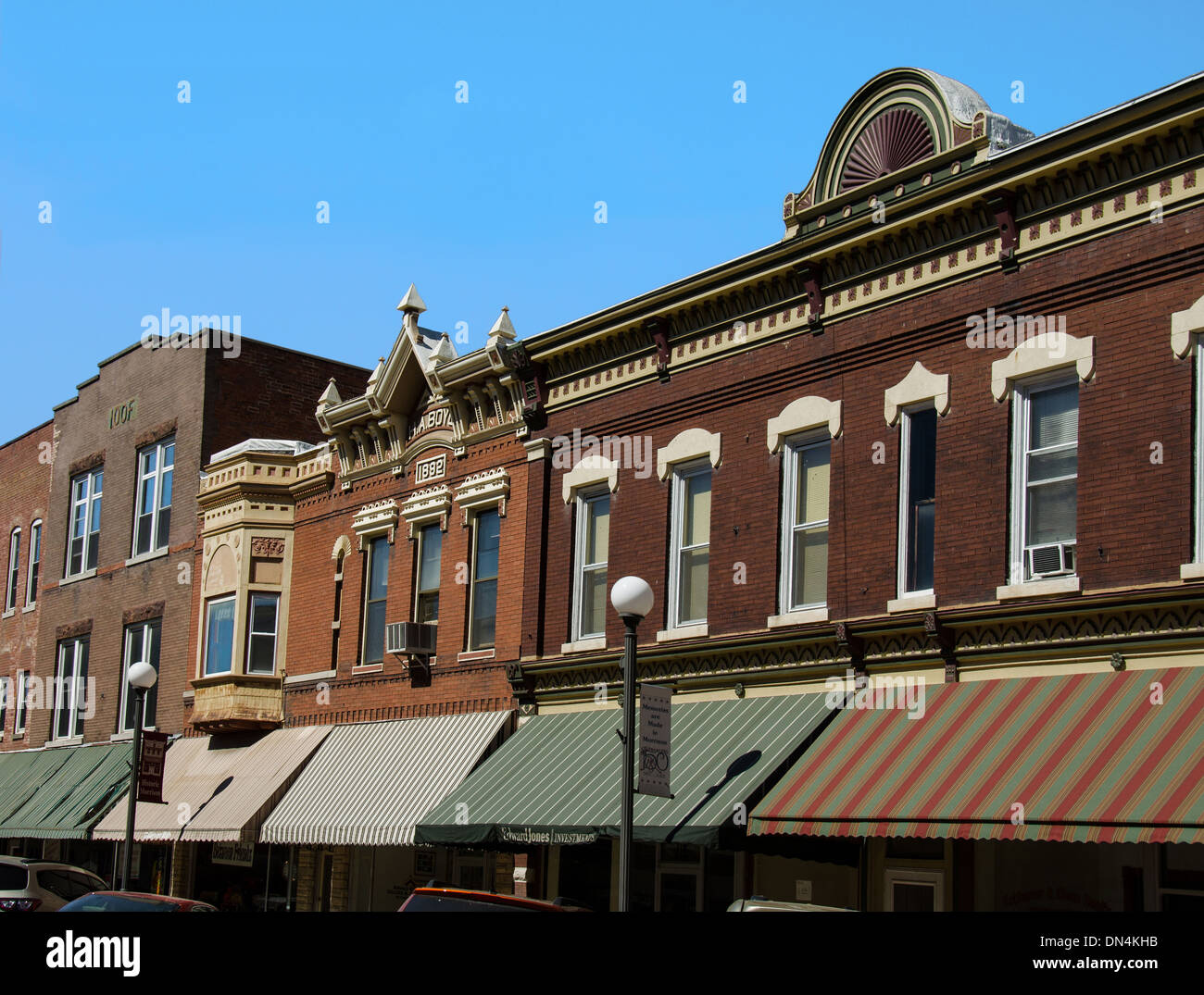 Buildings in the historic downtown area of Morrison, Illinois - Stock Image