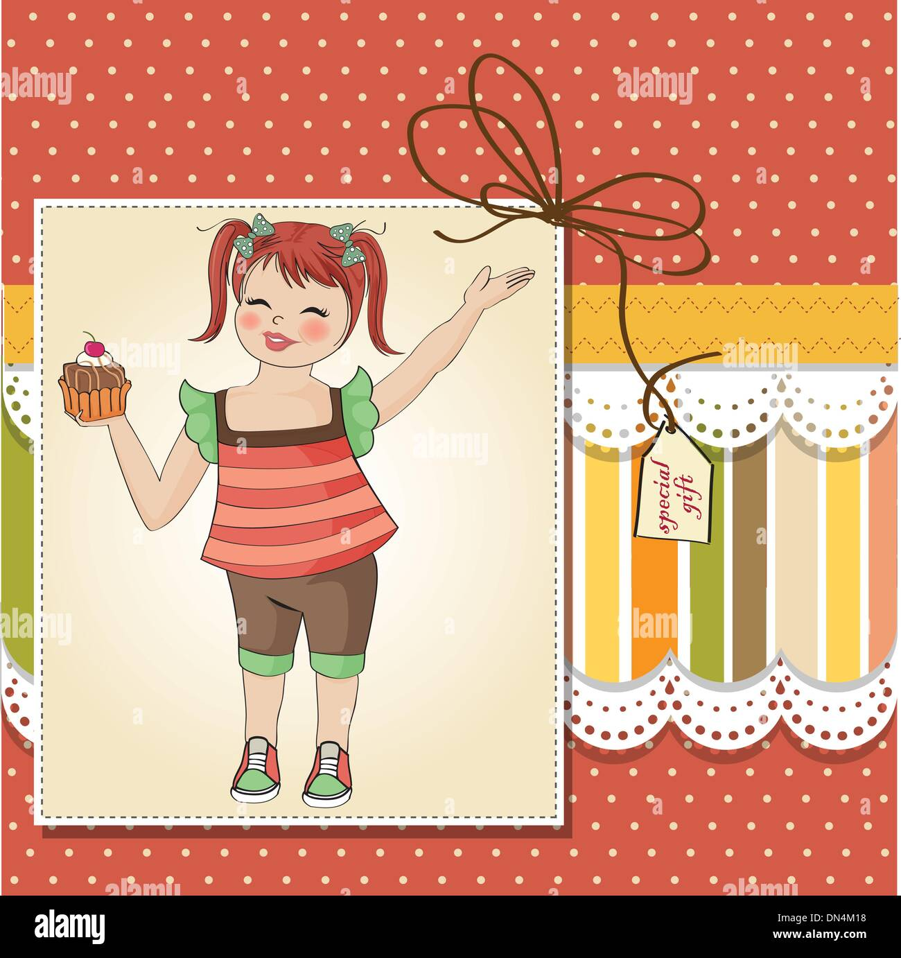 Birthday Greeting Card With Girl And Big Cupcake Stock Vector Art