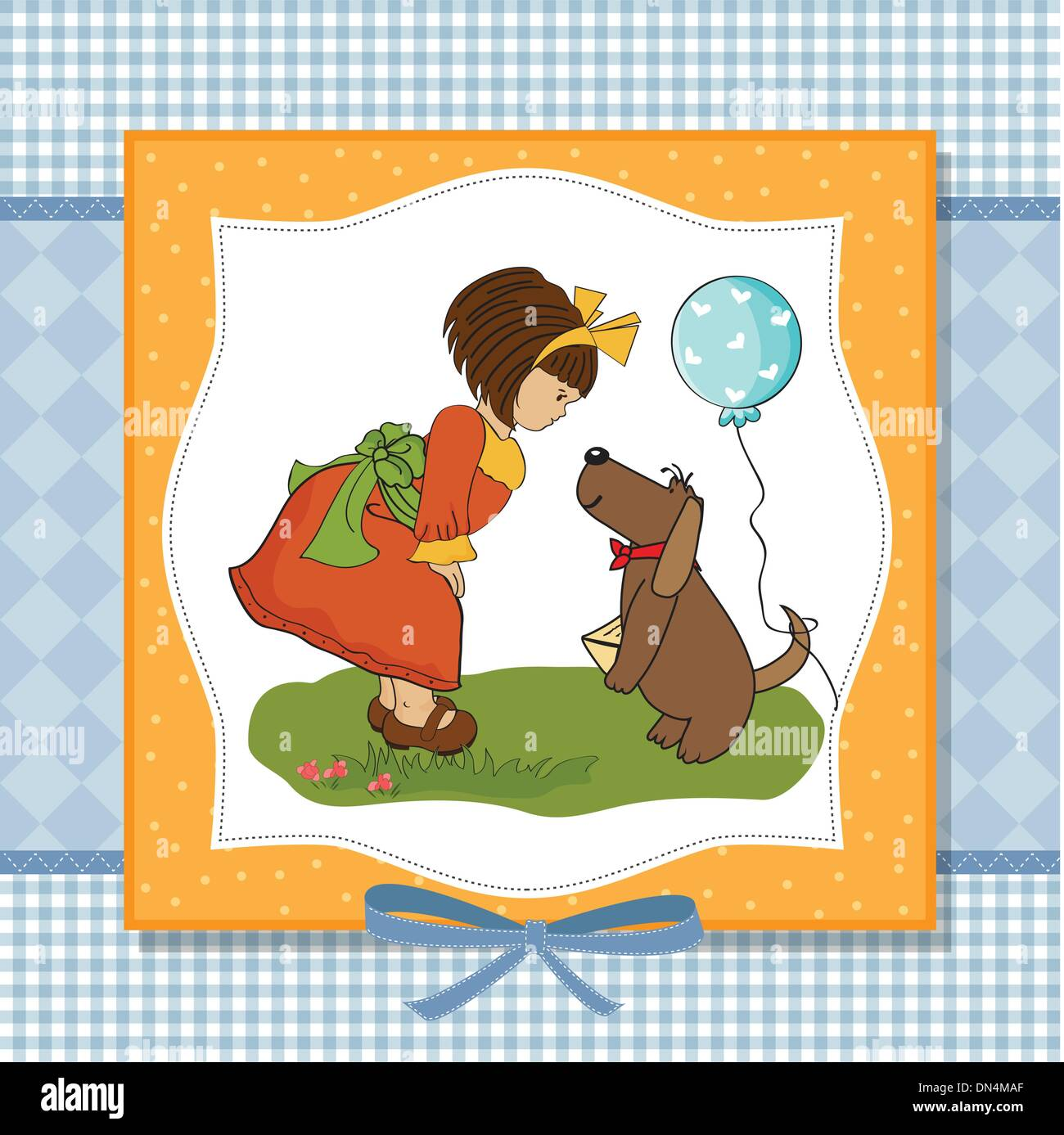 Young Girl And Her Dog In A Wonderful Birthday Greeting Card Stock