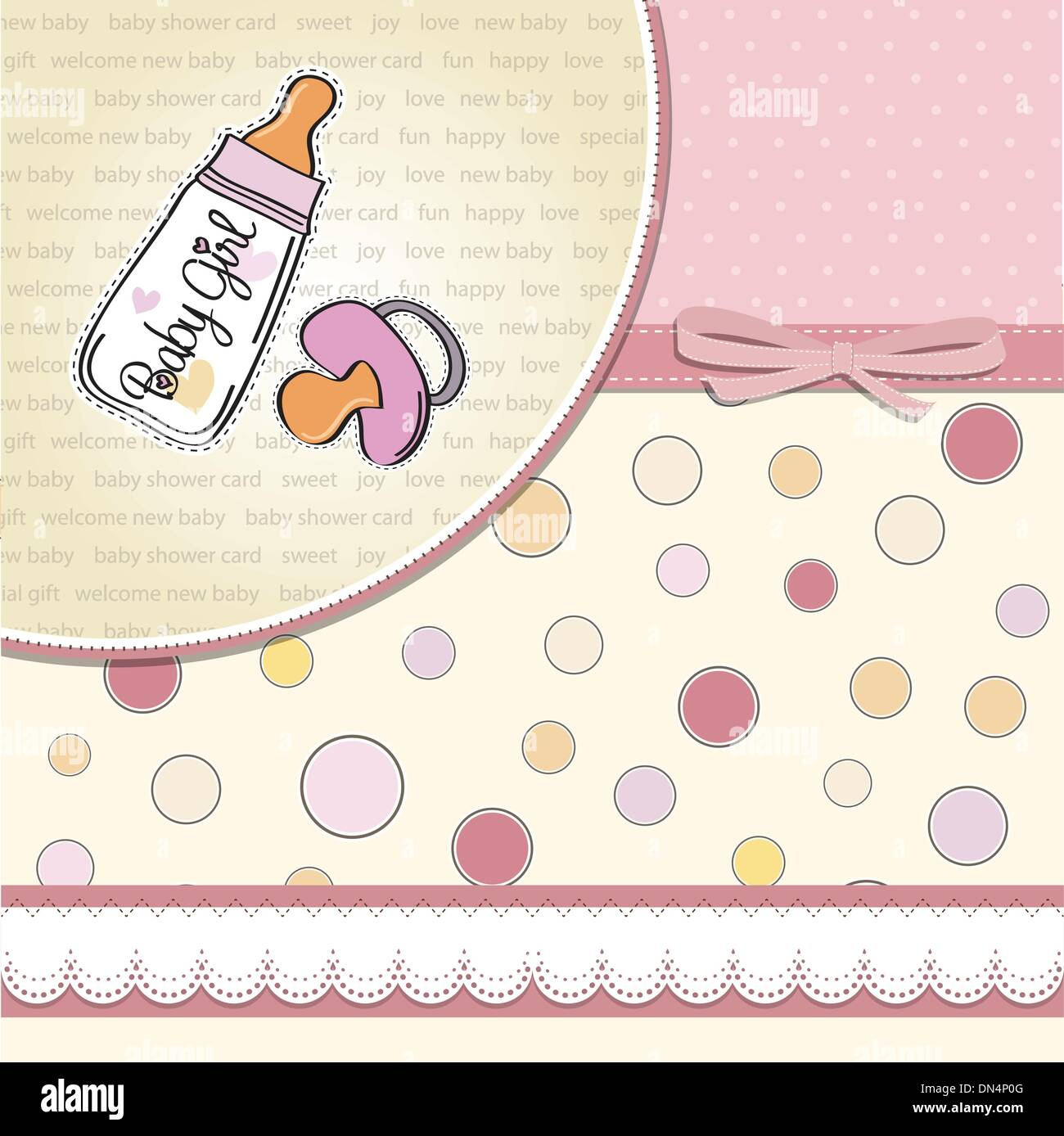 new baby girl announcement card with milk bottle and pacifier stock