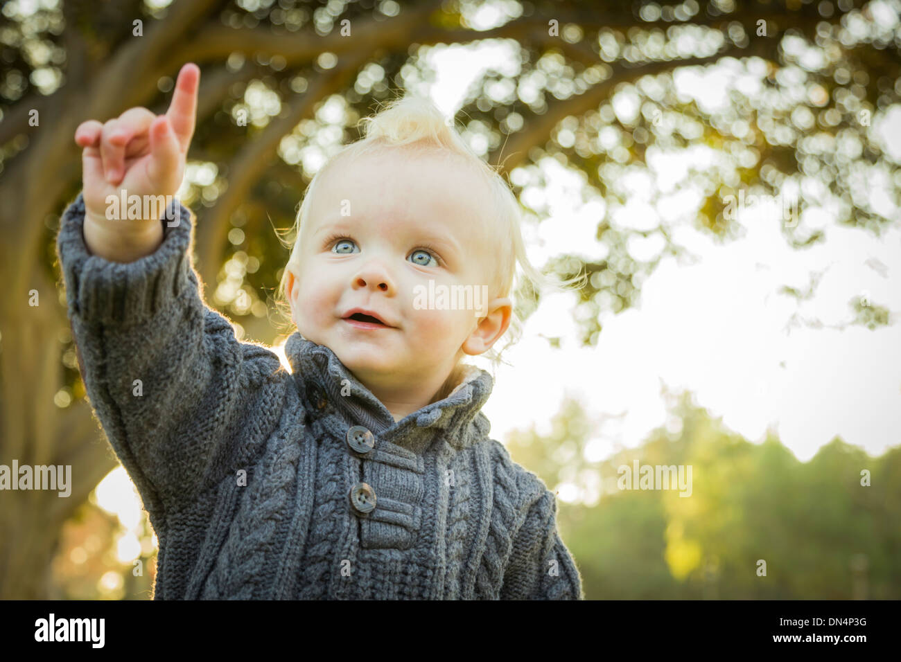 Adorable Little Blonde Baby Boy Outdoors at the Park. - Stock Image