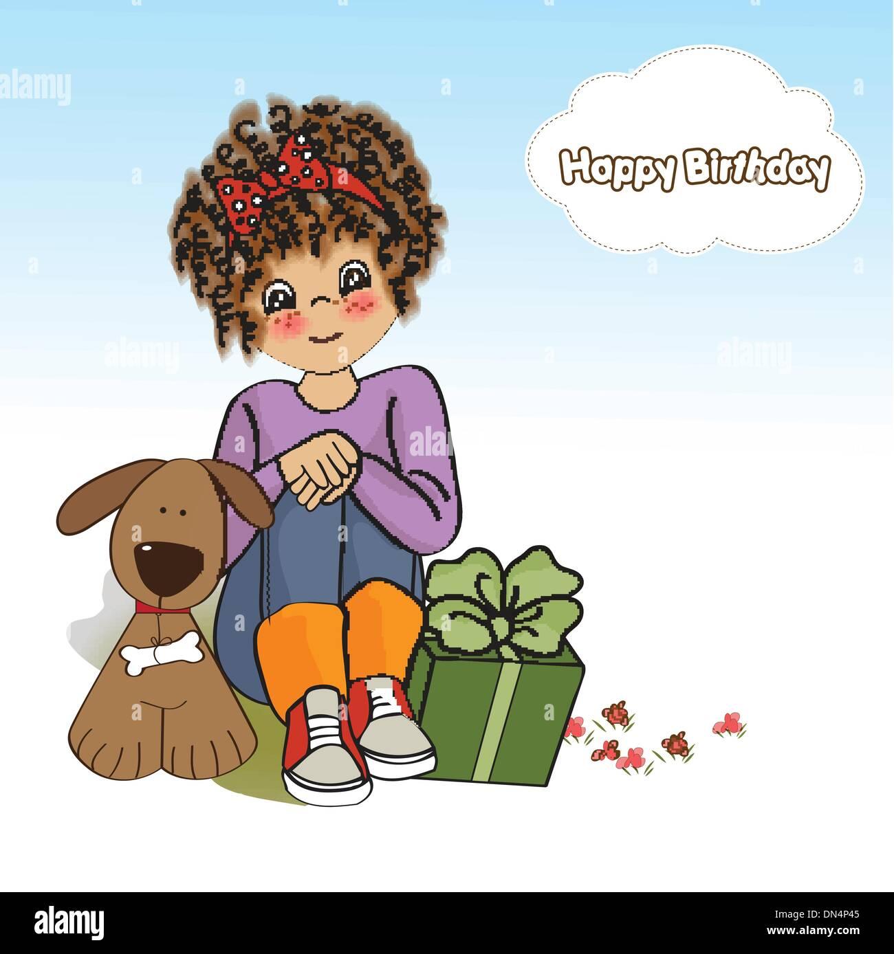Fabulous Birthday Greeting Card With Pretty Little Girl Stock Vector Art Funny Birthday Cards Online Ioscodamsfinfo