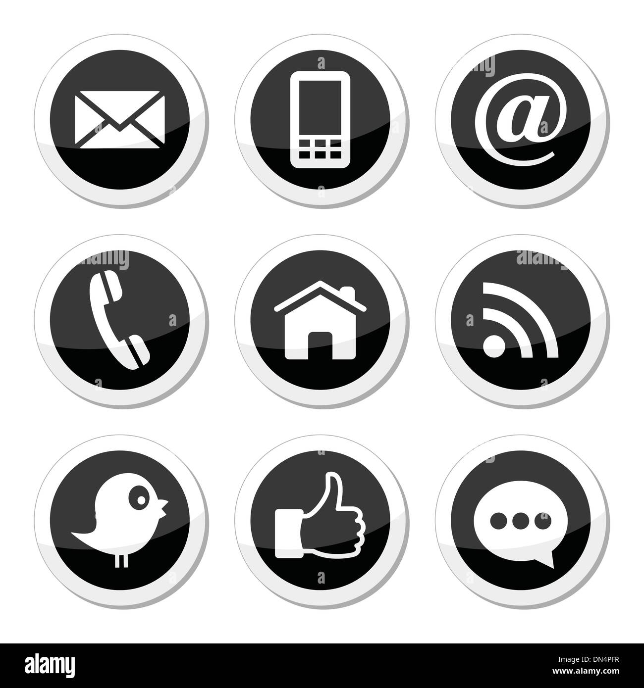 Contact, web, blog and social media round icons - twitter, facebook, rss - Stock Image