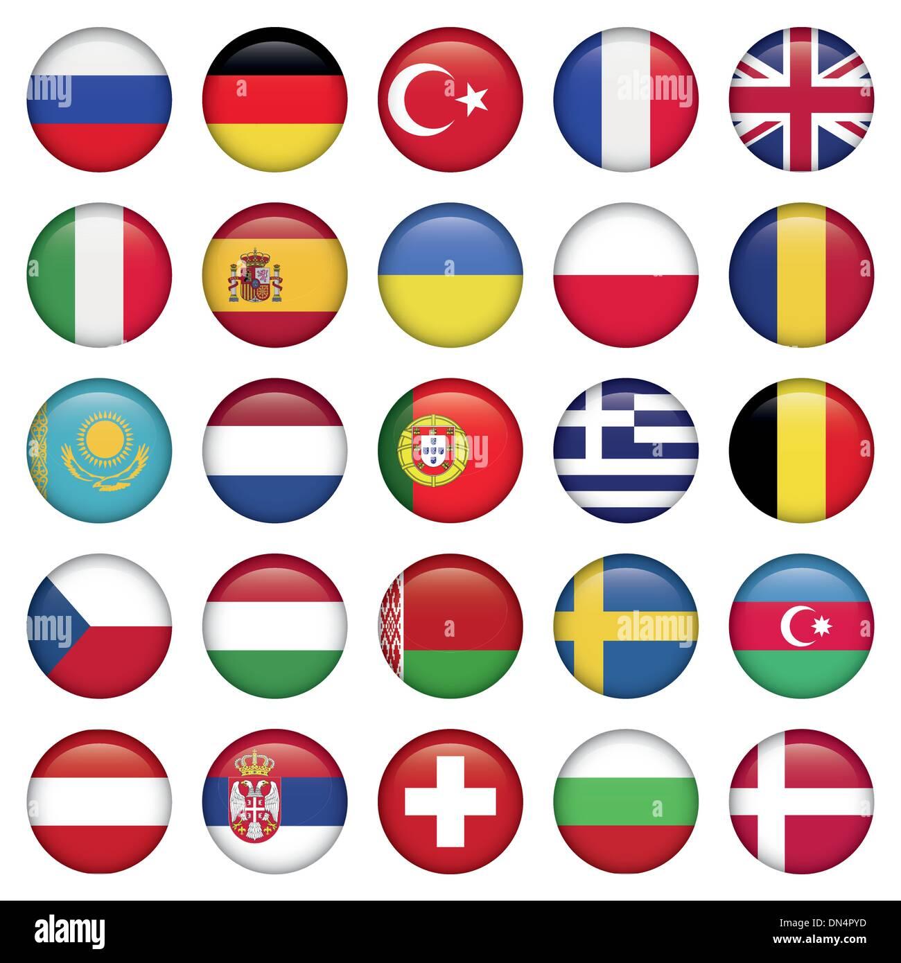 European Icons Round Flags - Stock Image