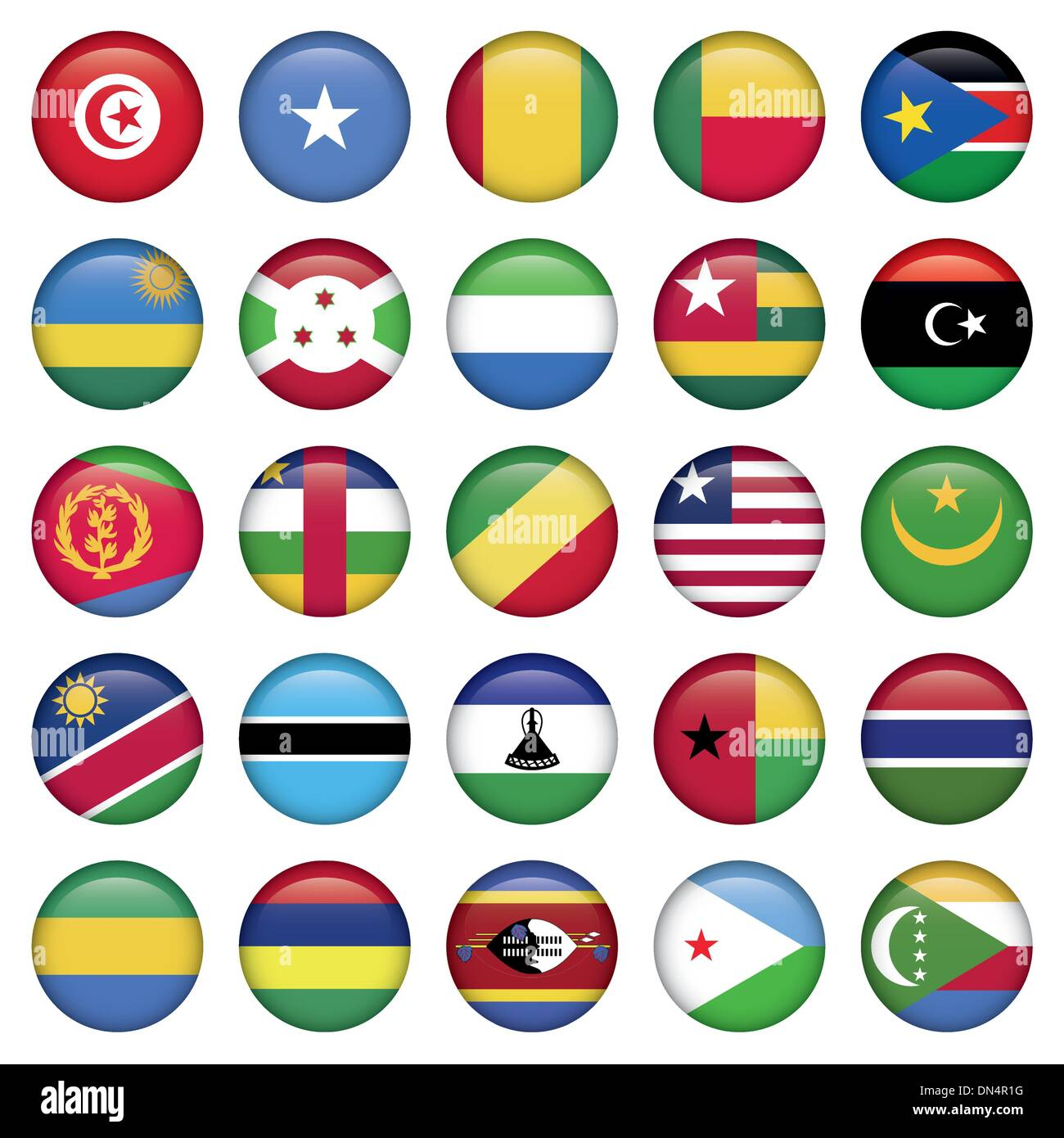 Africa Flags Round Buttons Stock Vector
