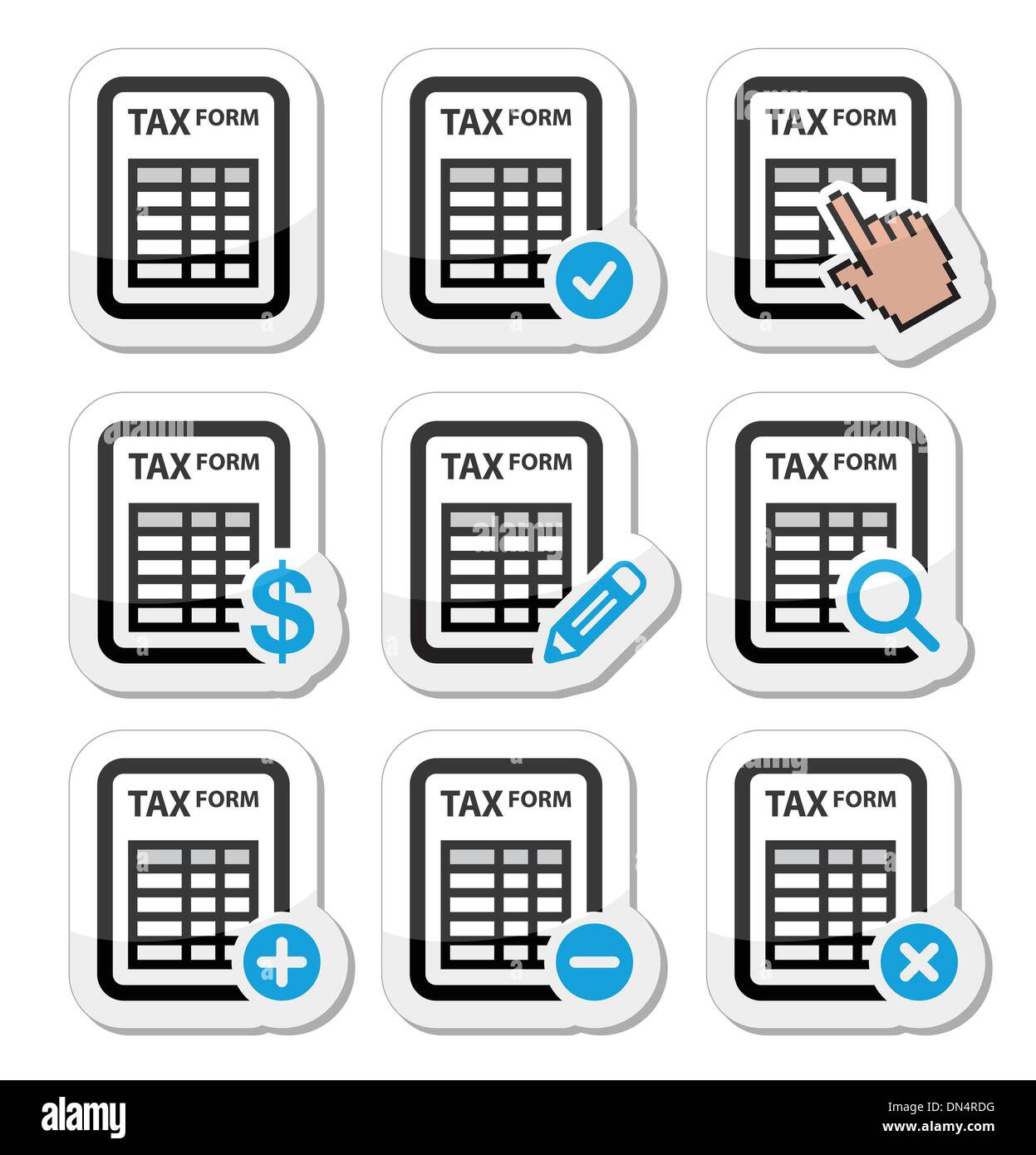Tax form, taxation, finance vector icons set - Stock Image