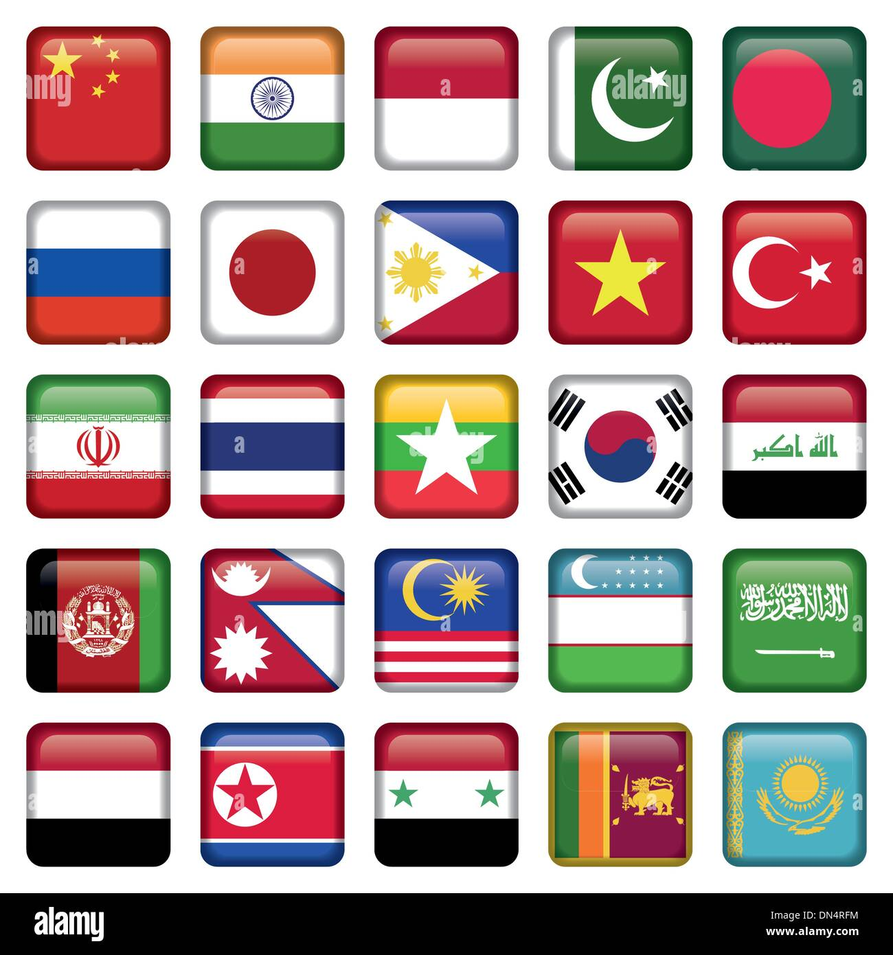 Asia Flags Square Icons - Stock Image