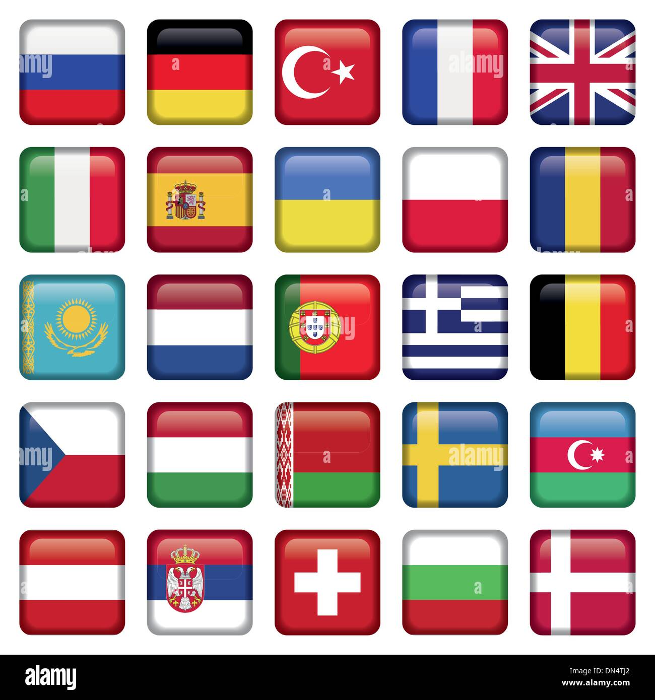 Europe Icons Squared Flags - Stock Image