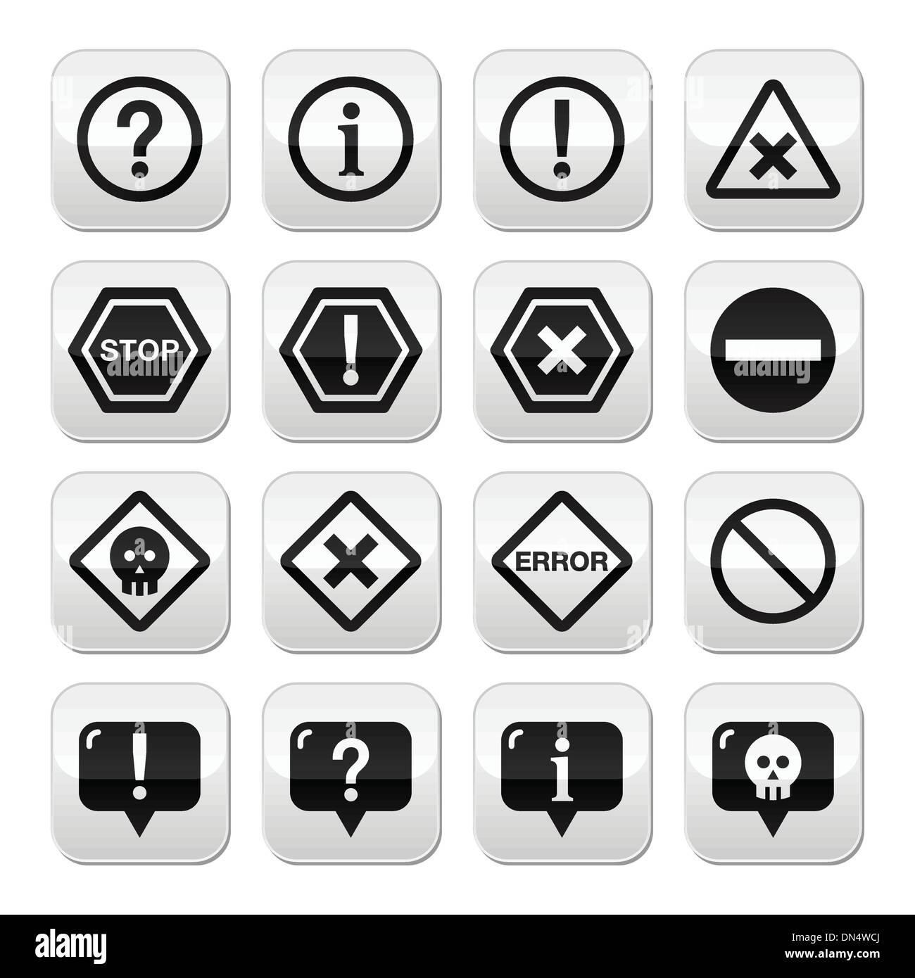 System buttons - warning, danger, error isolated on white - Stock Image