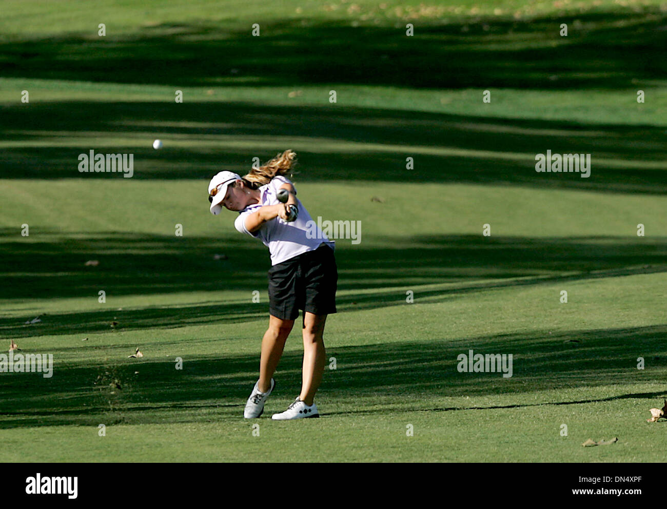 Nov 14, 2006; Rancho Cucamonga, CA, USA; GOLF: Carlsbad's RACHEL MORRIS, 14, blasts a shot off the fairway towards the putting green on hole #17 at the high school golf state championships at the Red Hill Country Club.  Morris shot a 75 placing her in third place overall.  Mandatory Credit: Photo by Sean DuFrene/SDU-T/ZUMA Press. (©) Copyright 2006 by SDU-T - Stock Image