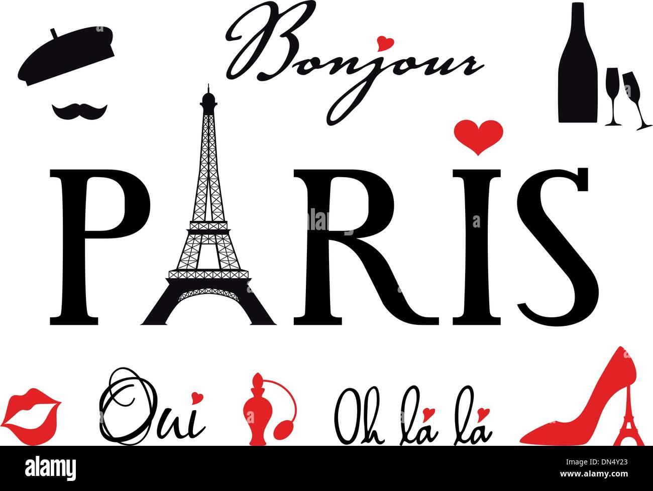 Paris with Eiffel tower, vector set - Stock Vector