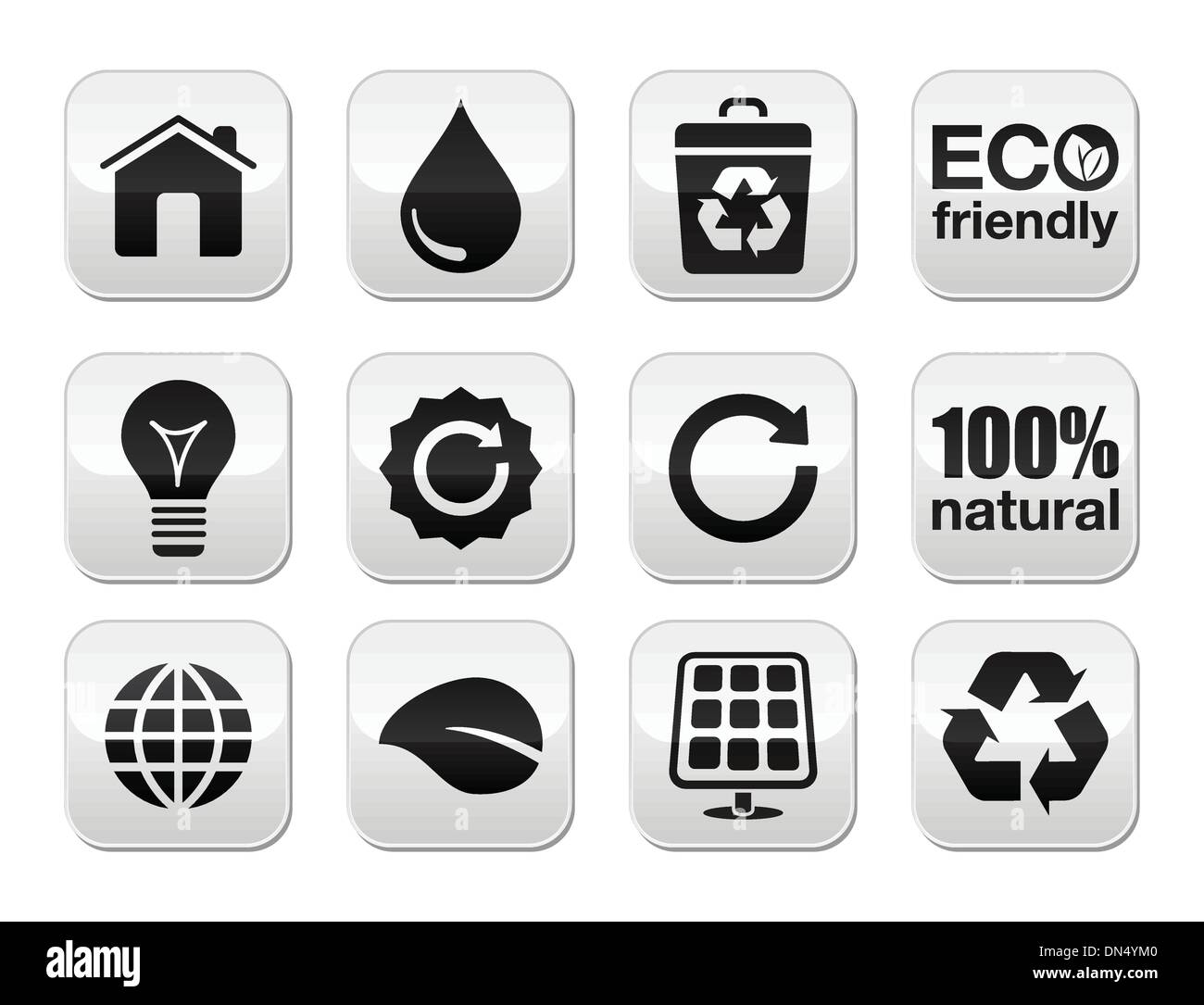 Green ecology vector buttons set - Stock Image