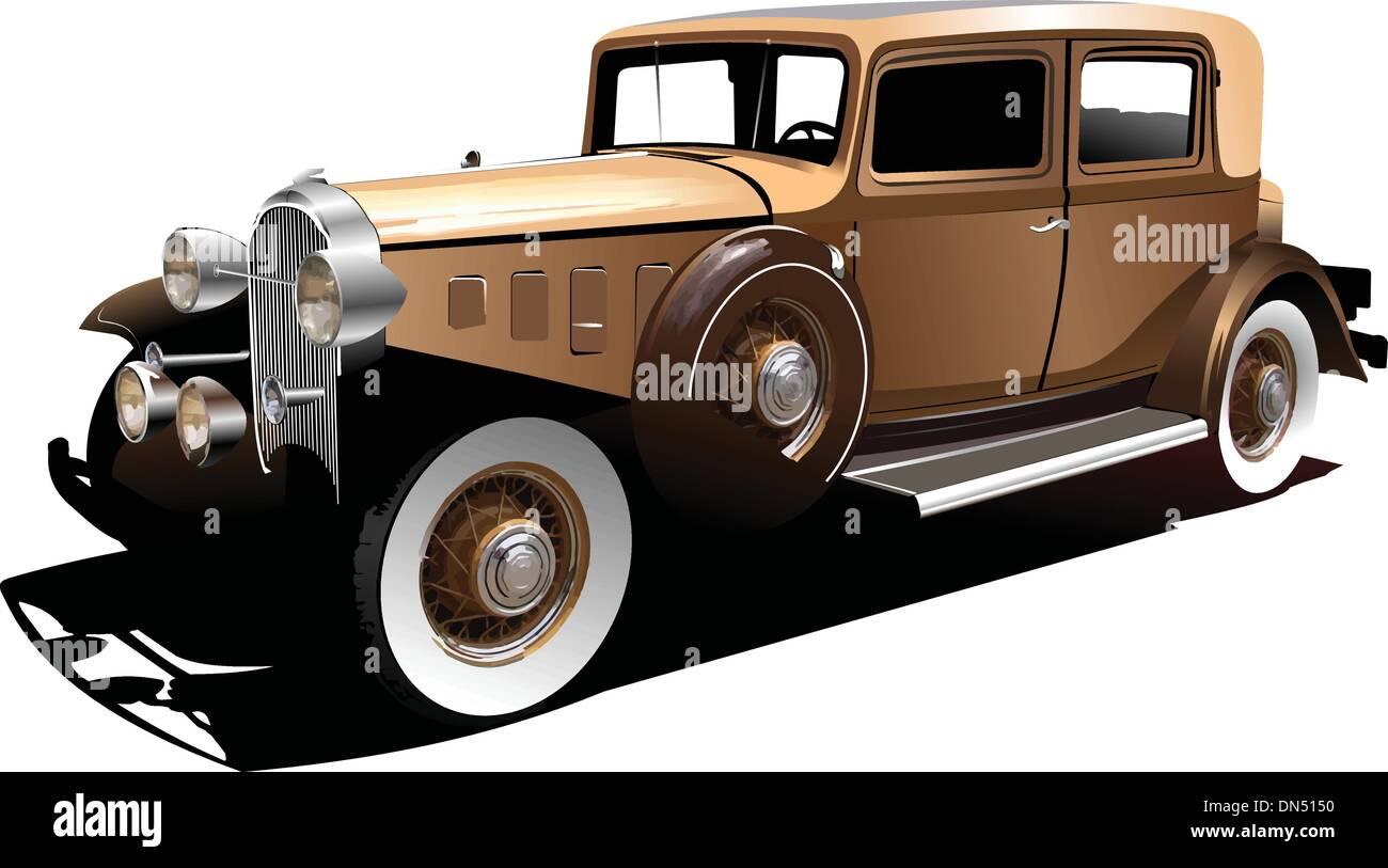 Old  car. Vector illustration - Stock Vector