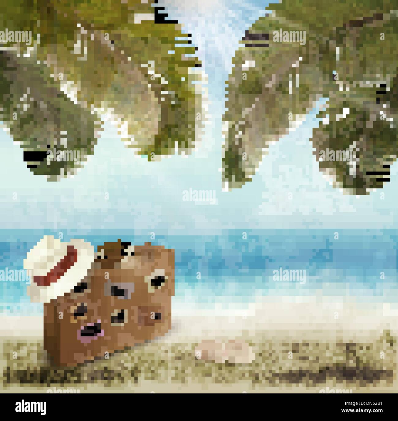 Vintage beautiful seaside background with suitcase and a hat. Ve - Stock Vector