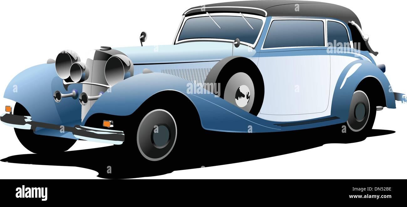 Old  blue car. Vector illustration - Stock Vector