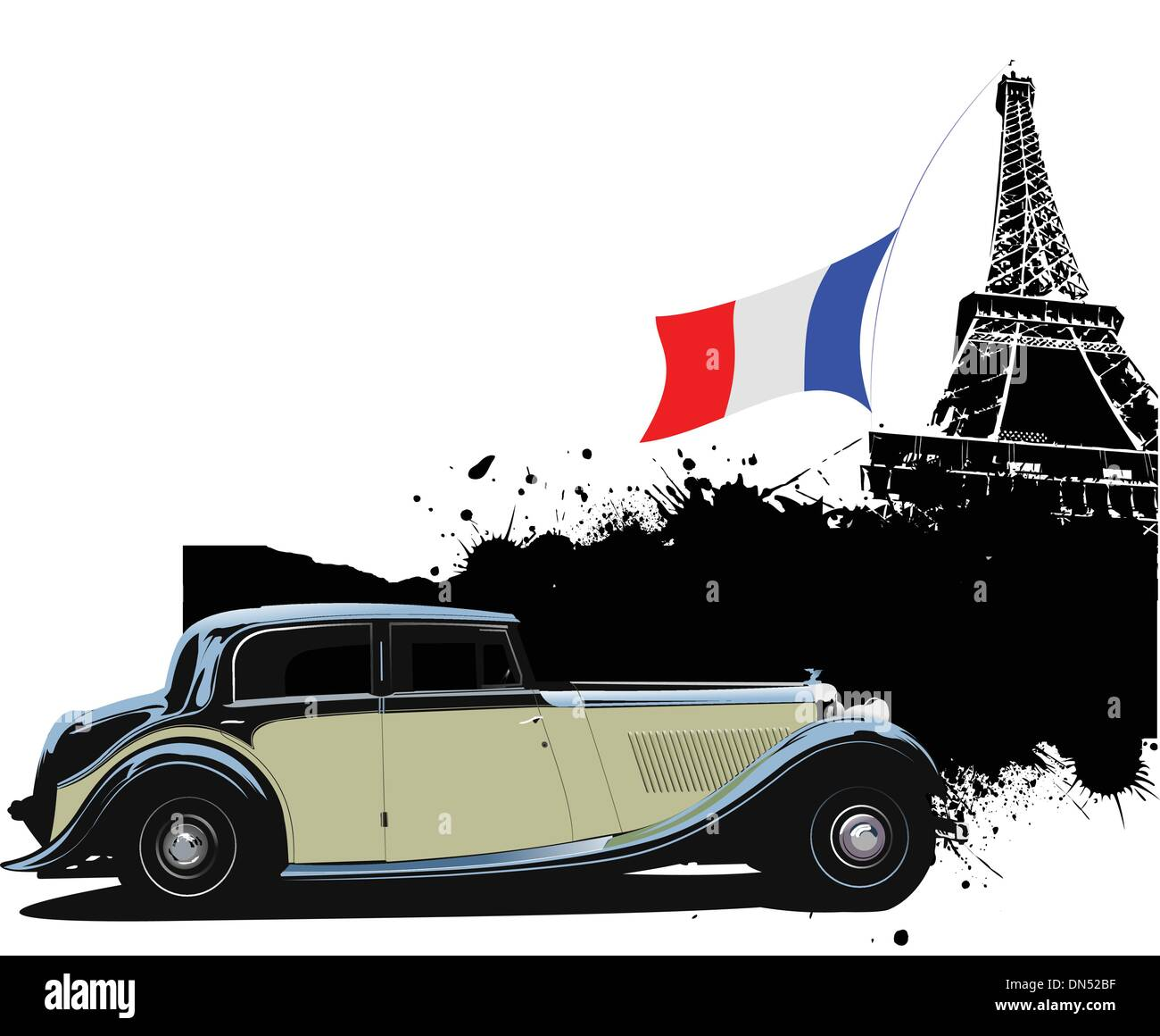 Cover for brochure with Paris and rarity closed roof cabriolet i - Stock Image
