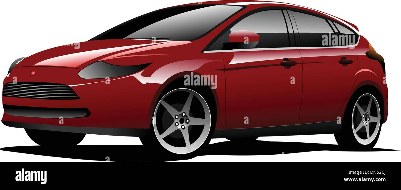 Red-brown hatchback car on the road. Vector illustration - Stock Image