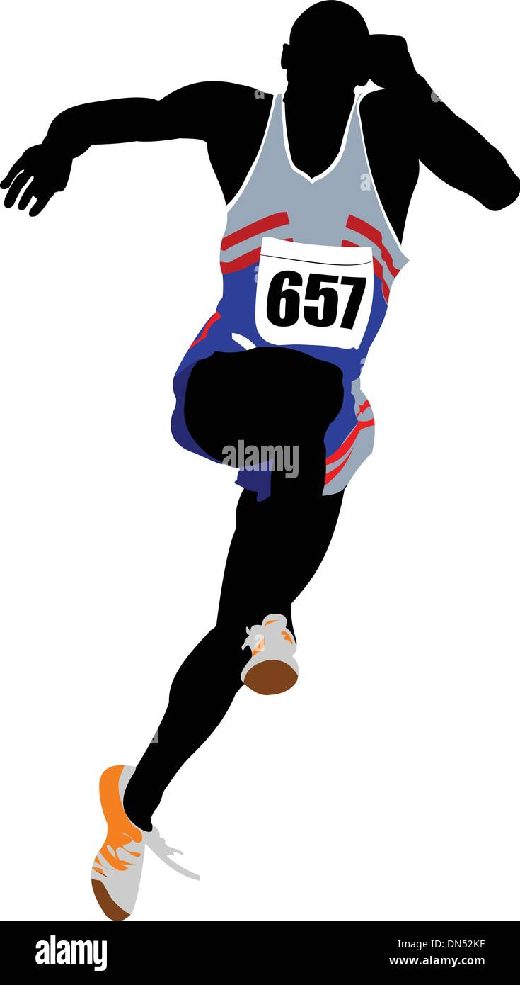 The running people. Sport. Athletic. Vector illustration - Stock Vector