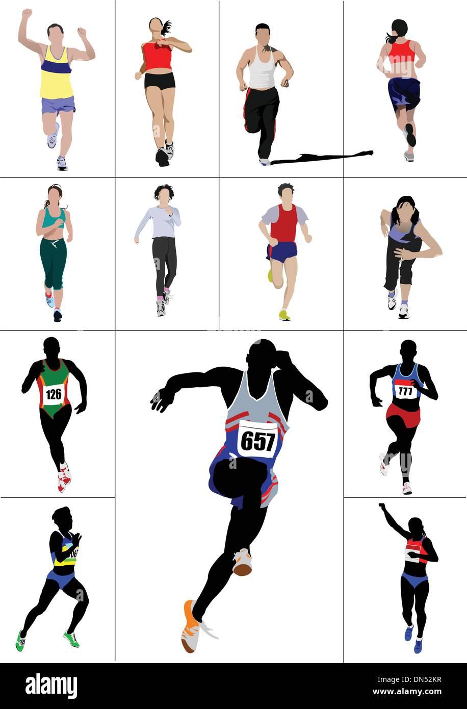 The running men and women. Vector illustration - Stock Vector