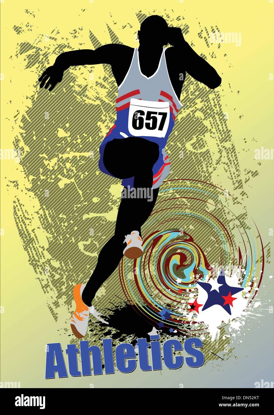Poster Athletics. The running people. Sport. Running. Vector ill - Stock Vector