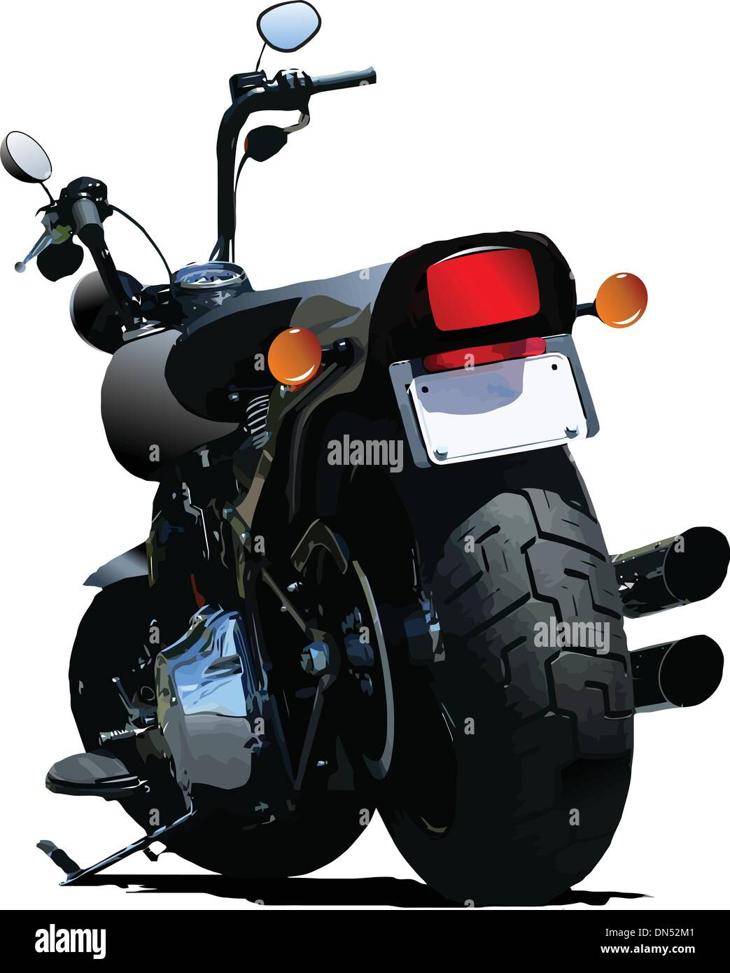Motorcycle rear-side  view. Vector illustration - Stock Vector