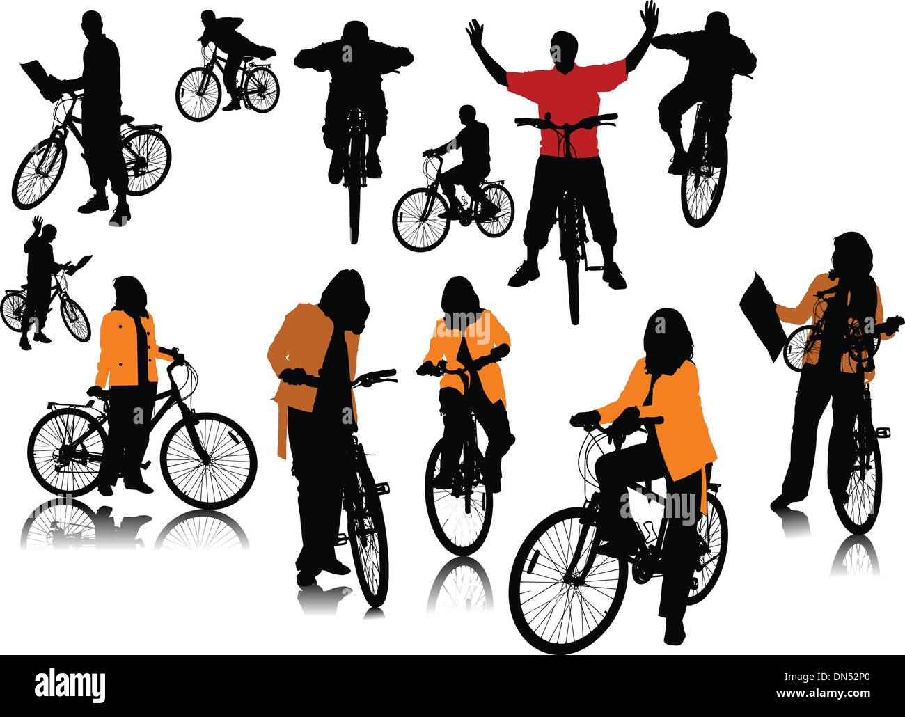Fourteen  people silhouettes with bicycle. Vector illustration - Stock Image
