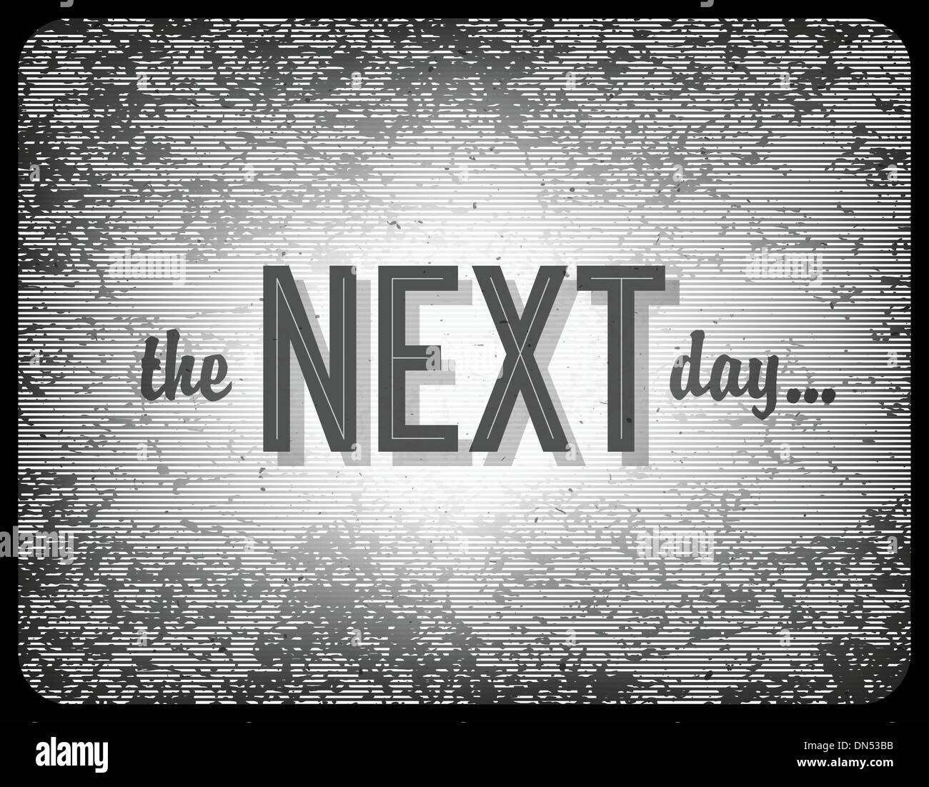Old cinema phrase (the next day...), vector, EPS10 - Stock Image