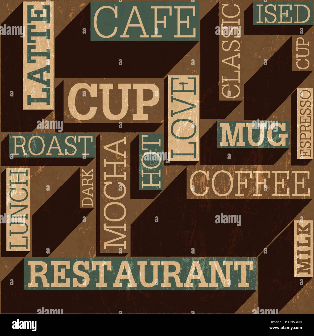 Coffee themed seamless retro background, vector - Stock Image