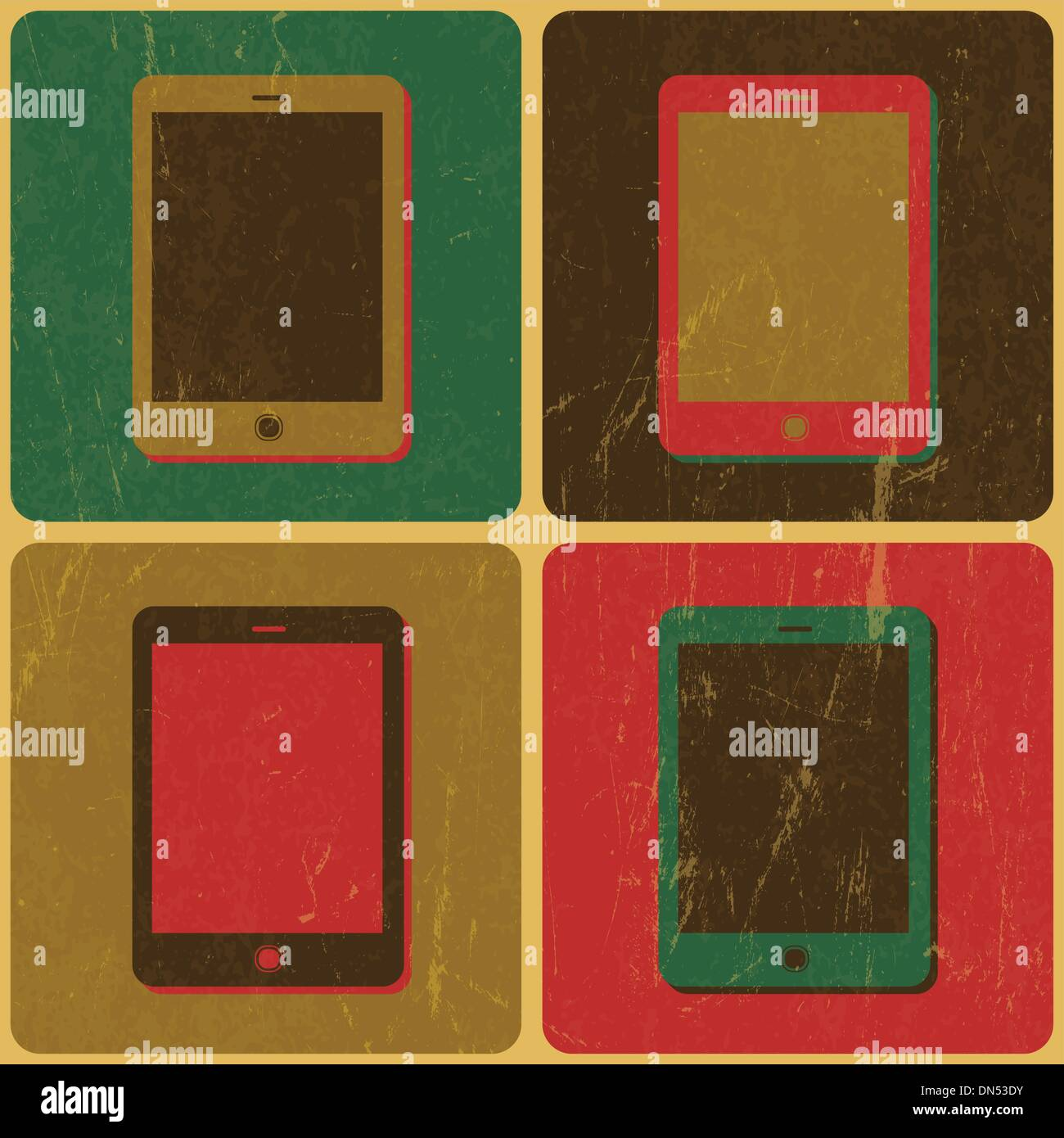 Smart Phone Poster, Pop-Art Styled, Vector - Stock Image