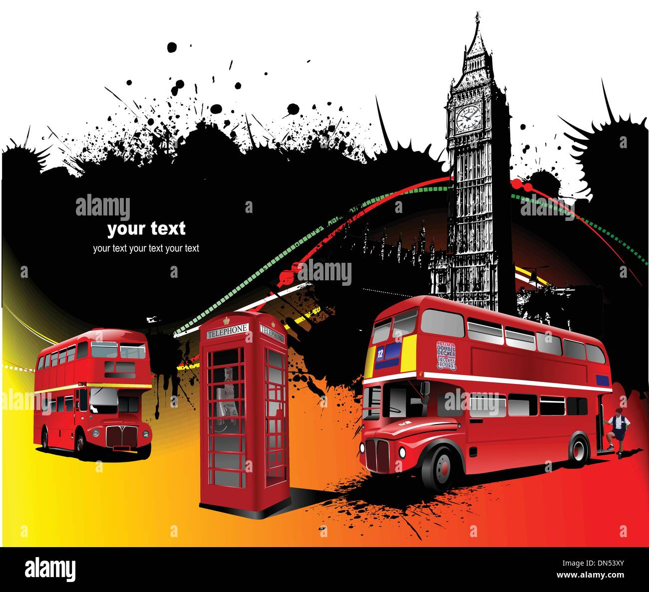 London rarity red images. Vector illustration - Stock Image