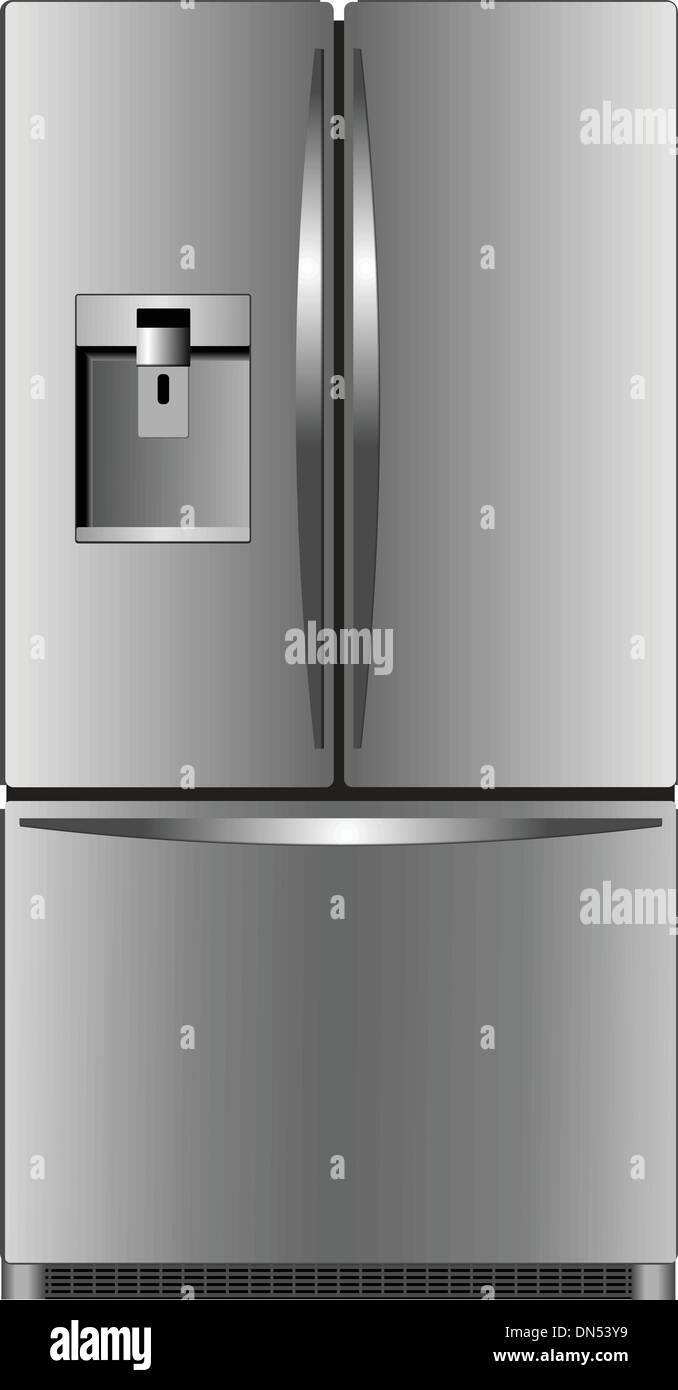 Domestic refrigerator with unit for cold water - Stock Vector