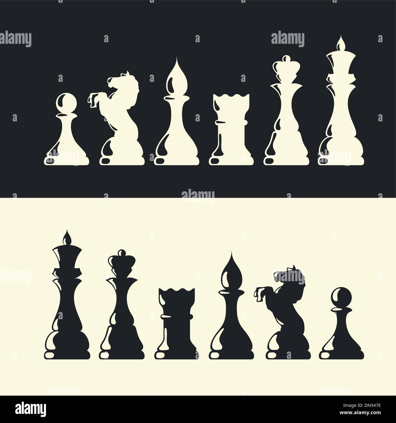 Chess pieces collection. Vector - Stock Image