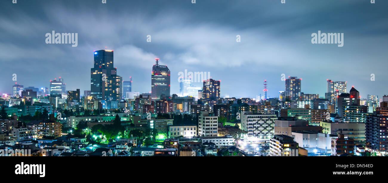 Sendai, Japan cityscape at night - Stock Image