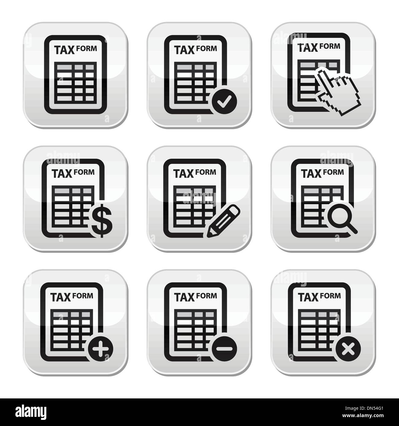 Tax form, taxation, finance vector buttons set - Stock Image