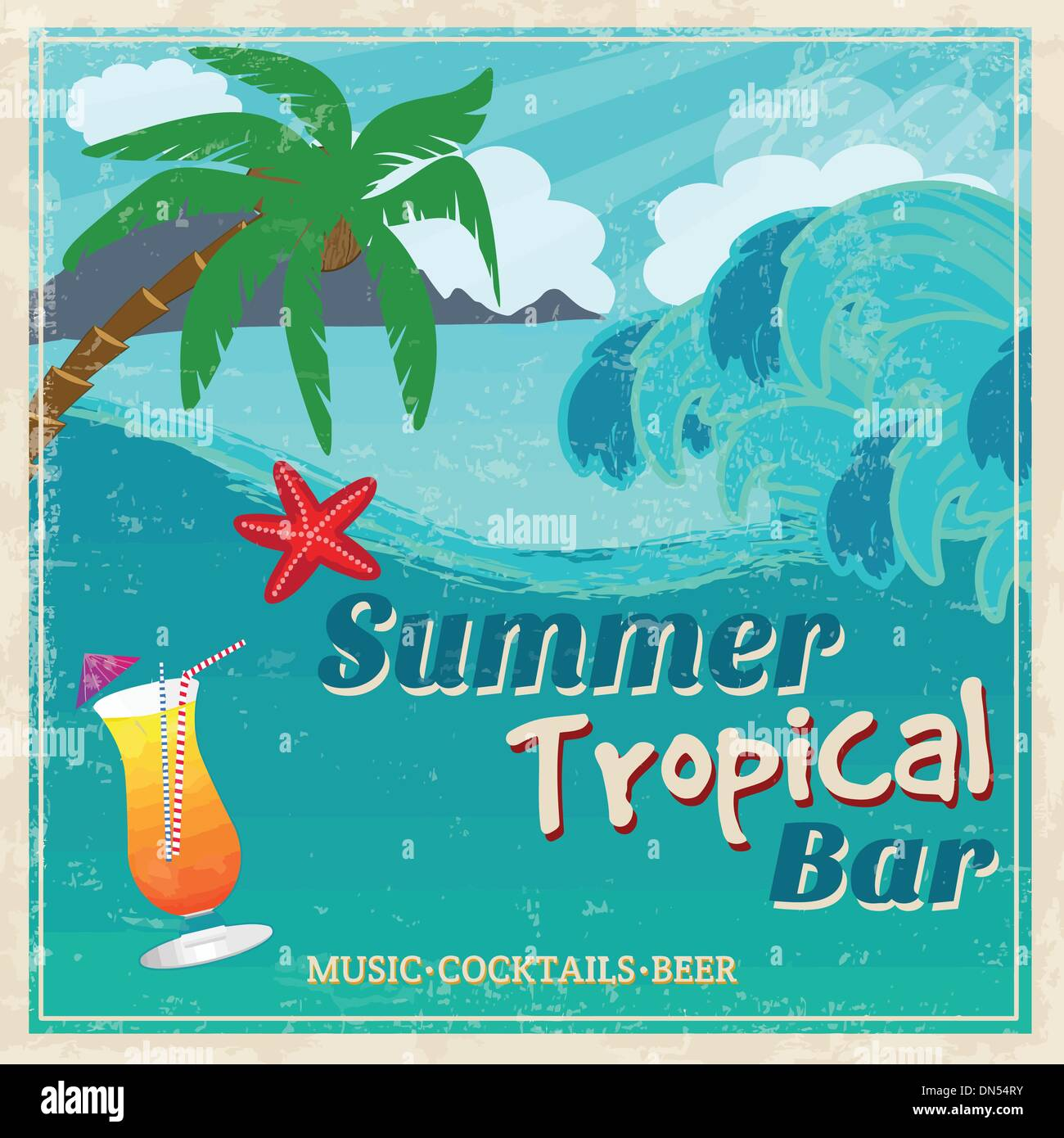 Poster of vintage seaside tropical bar - Stock Vector